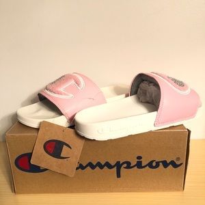 NEW Champion Chenille Pink & White Slides